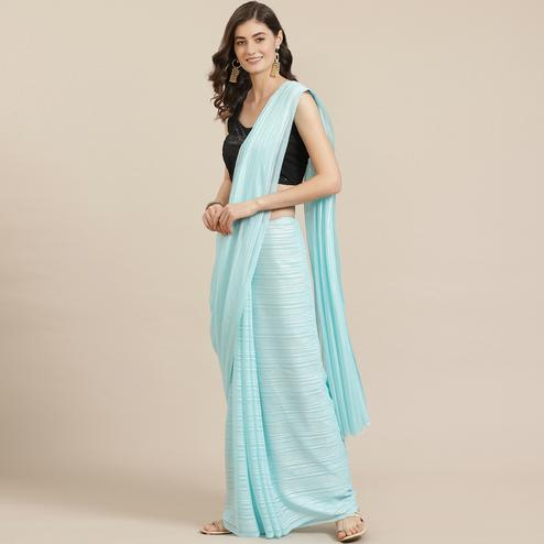Pleasant Light Blue Coloured Partywear Printed Georgette Saree