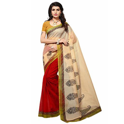 Beige - Red Casual Printed Kota Doria Silk Saree
