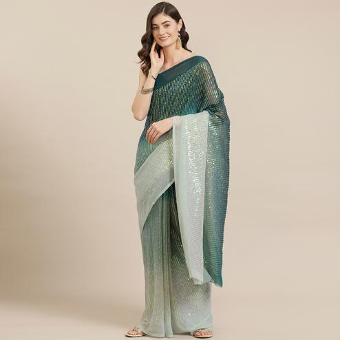 Exceptional Green Coloured Partywear Sequence Work Georgette Saree