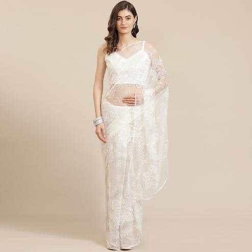 Mesmeric White Coloured Partywear Floral Embroidered Net Saree