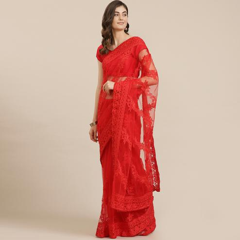 Unique Red Coloured Partywear Floral Embroidered Soft Net Saree
