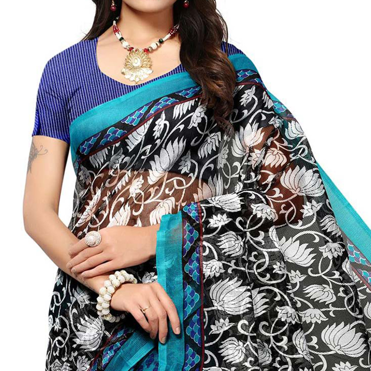 Blue - Black Casual Printed Kota Doria Silk Saree