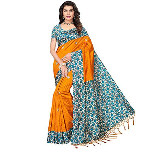 Orange Festive Wear Printed Mysore Art Silk Saree