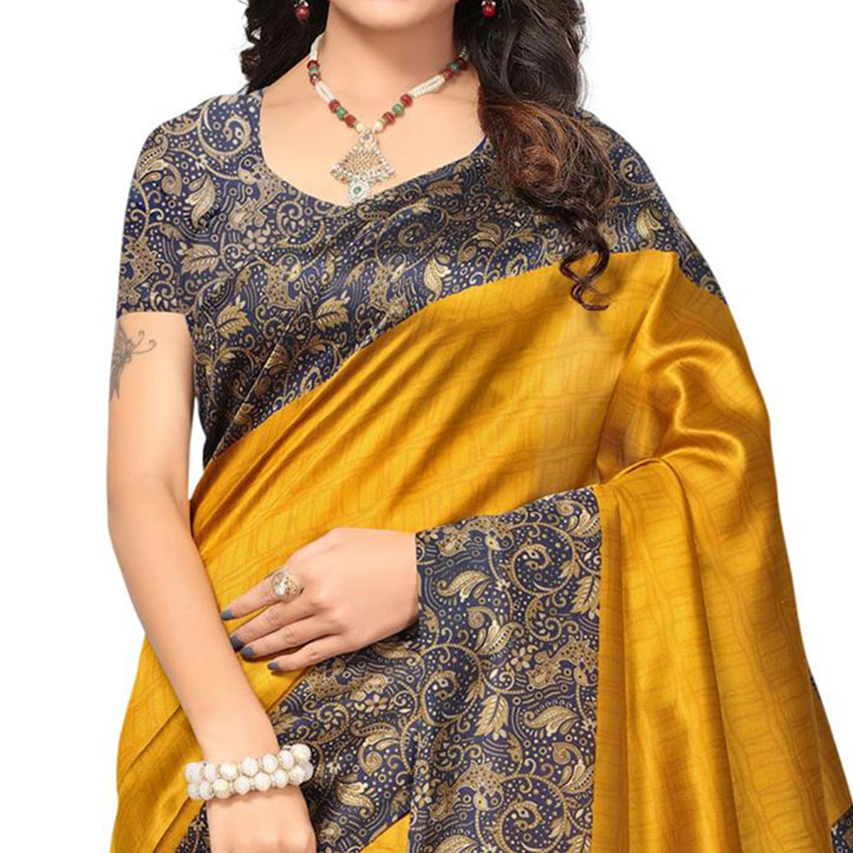 Golden Yellow Festive Wear Printed Mysore Art Silk Saree