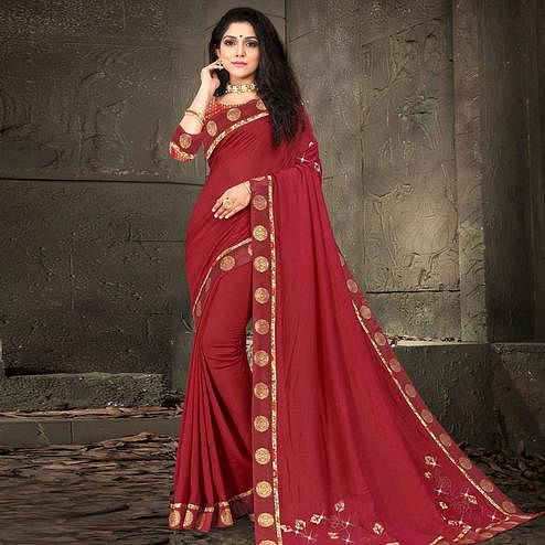 Indian Women Maroon Colored Vichitra Silk Embroidered With Border Designer Saree