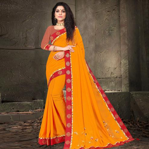 Indian Women Yellow Colored Vichitra Silk Embroidered With Border Designer Saree
