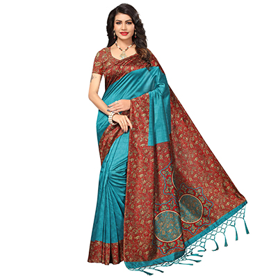Turquoise Blue Festive Wear Printed Mysore Art Silk Saree