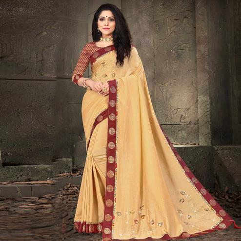 Indian Women Beige Colored Vichitra Silk Embroidered With Border Designer Saree