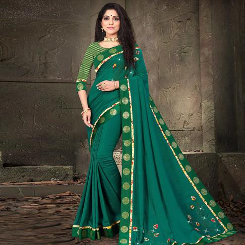 Indian Women Green Colored Vichitra Silk Embroidered With Border Designer Saree