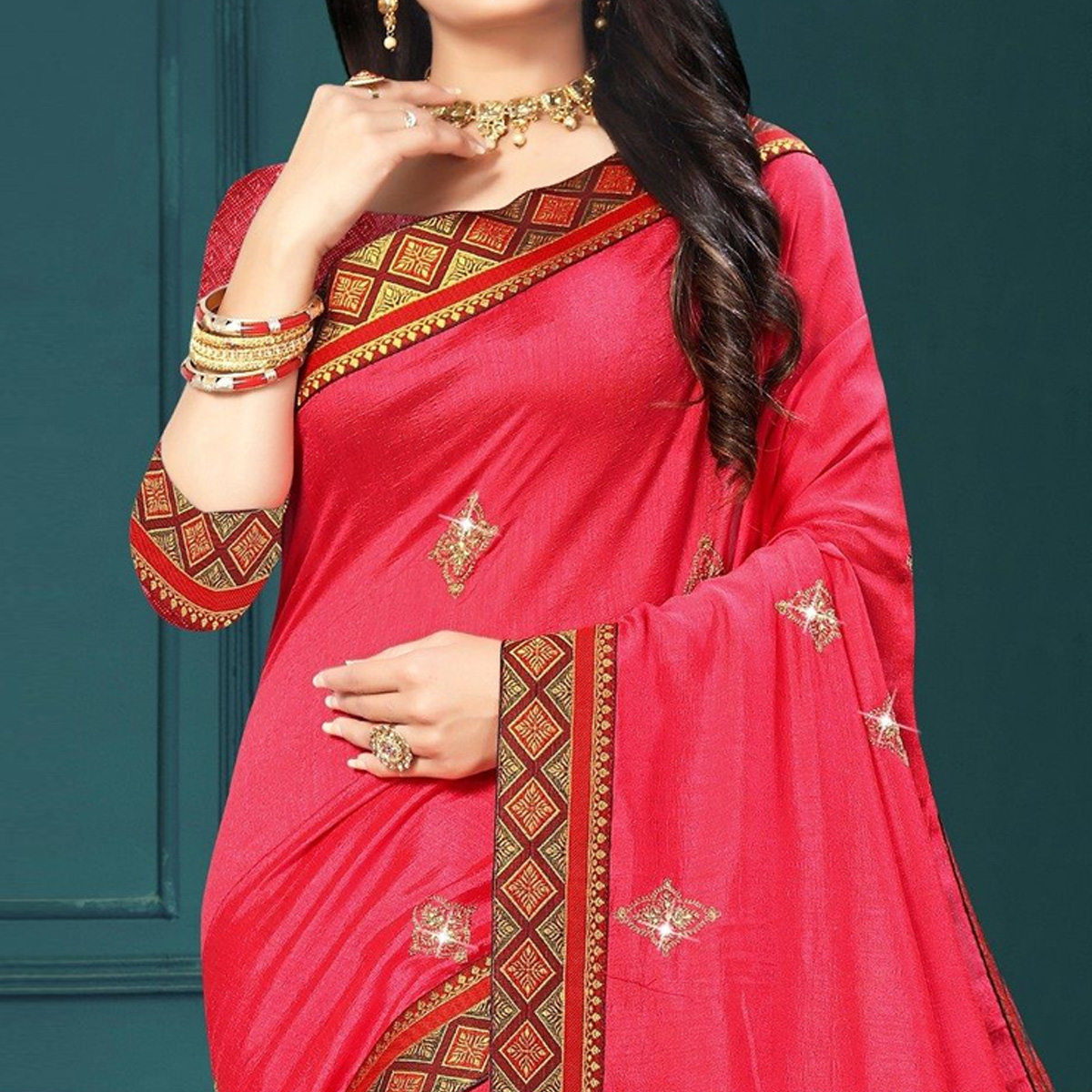 Indian Women Pink Colored Vichitra Silk Embroidered Designer Saree