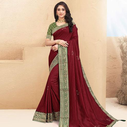 Indian Women Maroon Colored Vichitra Silk Lace Work Designer Saree