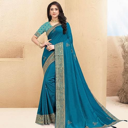 Indian Women Blue Colored Vichitra Silk Lace Work Designer Saree