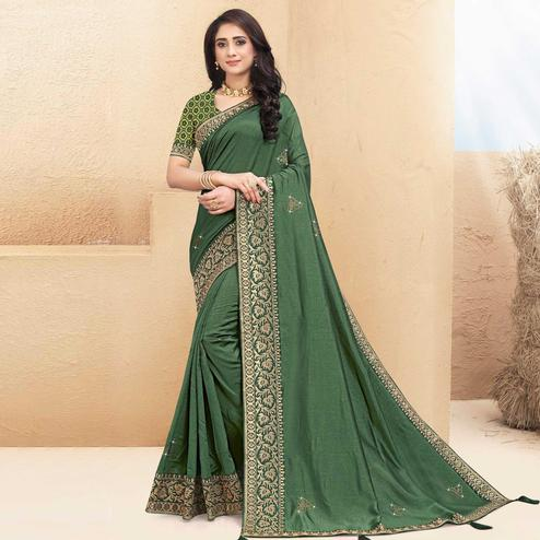 Indian Women Green Colored Vichitra Silk Lace Work Designer Saree