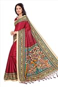 Maroon Casual Printed Khadi Silk Saree With Tassels