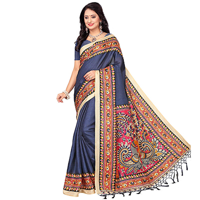 Blue Casual Printed Khadi Silk Saree With Tassels