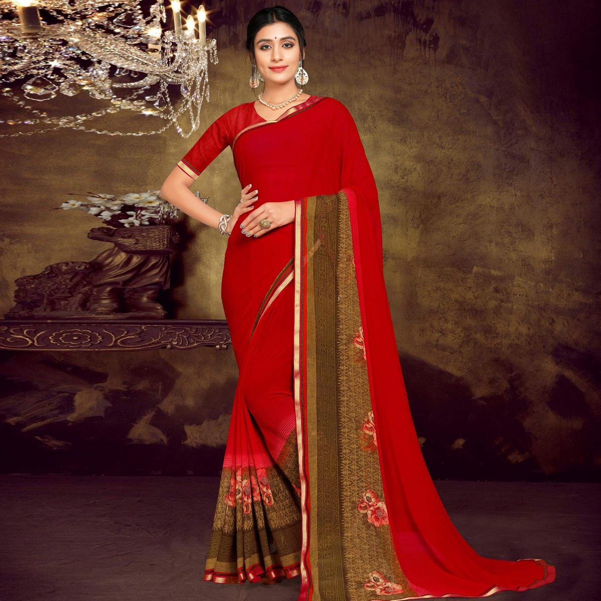 Indian Women Red Colored Georgette Printed With Lace Work Designer Saree