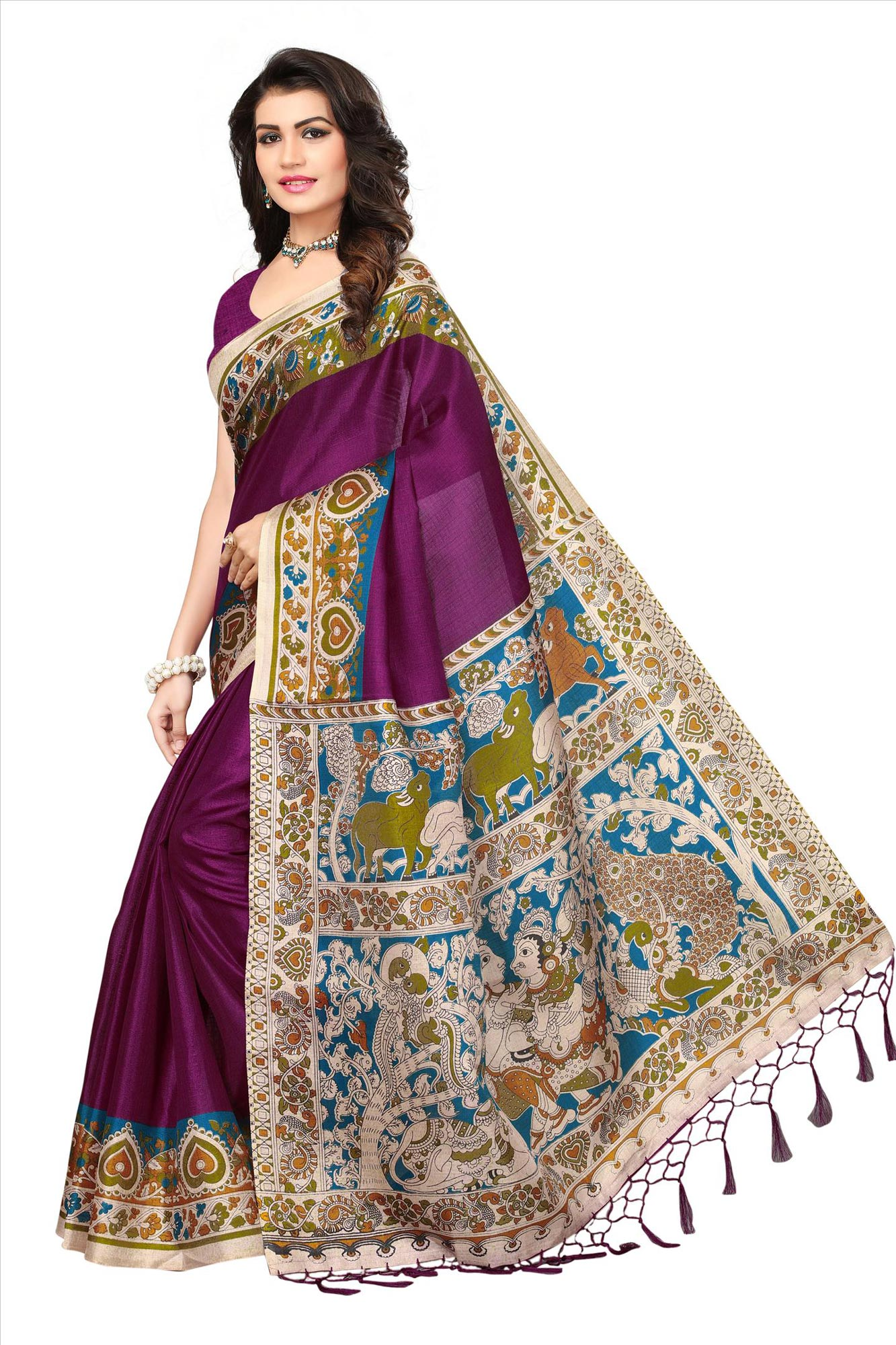 Purple Casual Printed Khadi Silk Saree With Tassels