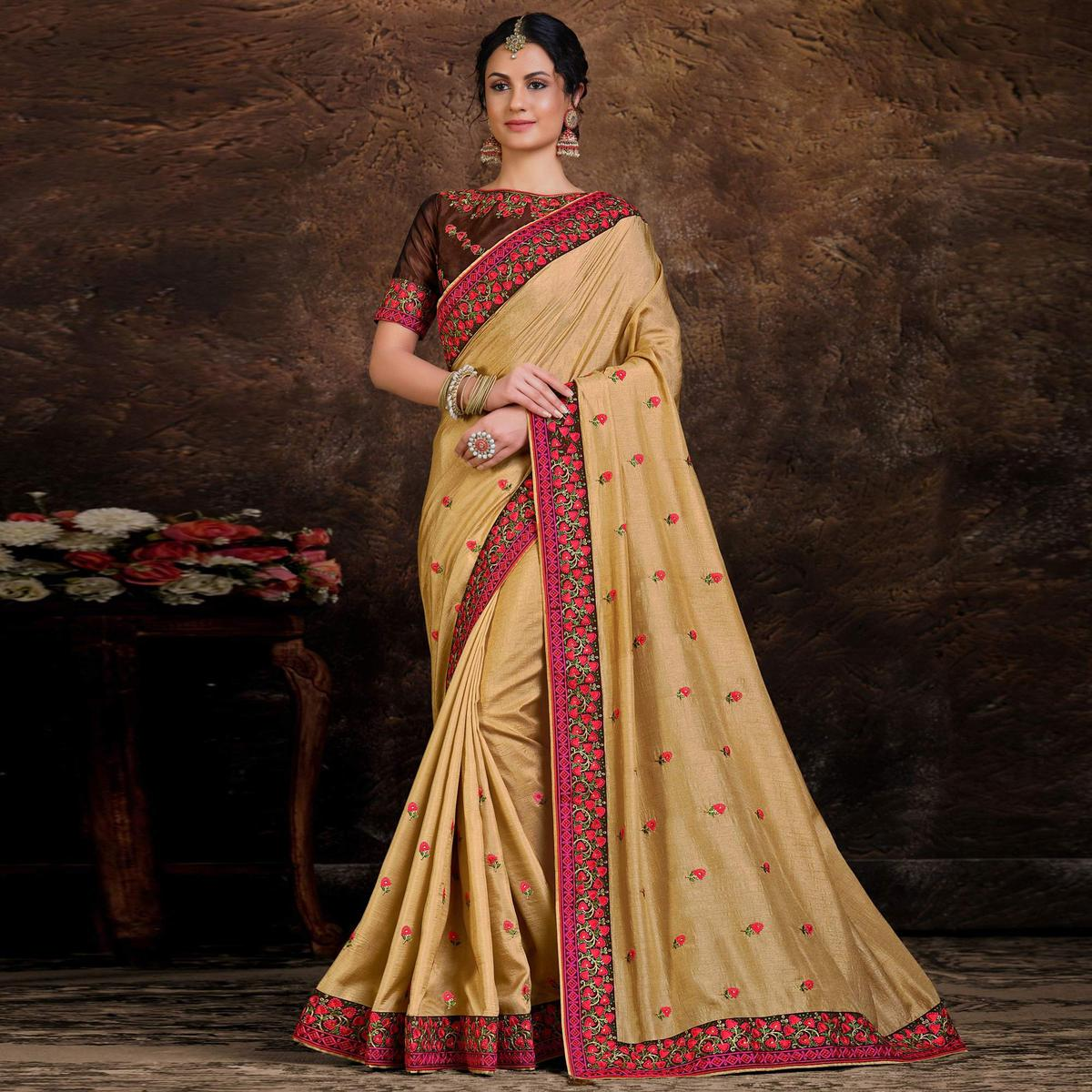 Indian Women Gold Colored Poly Silk Embroidered Lace Work Designer Saree
