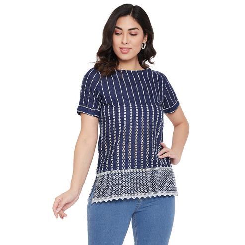 Tufafi - Women Navy Blue and White Color Embroidred Shifly Top