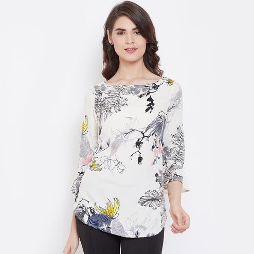 Tufafi - Women White Color Floral Printed Crepe Top
