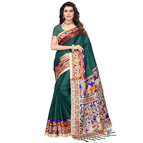 Bottle Green Casual Printed Khadi Silk Saree With Tassels