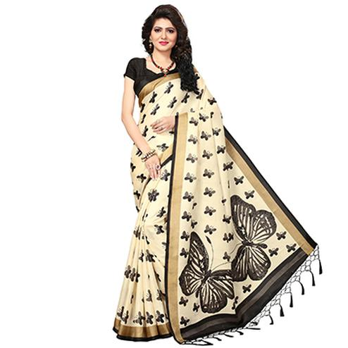 Cream - Black Casual Printed Khadi Silk Saree With Tassels