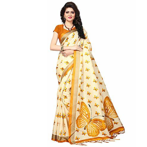 Cream - Yellow Casual Printed Khadi Silk Saree With Tassels