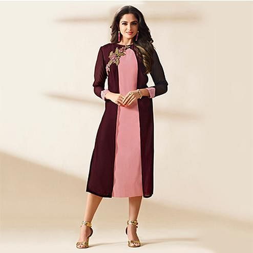 Pink - Brown Party Wear Layered Kurti