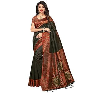 Black Festive Wear Printed Mysore Art Silk Saree