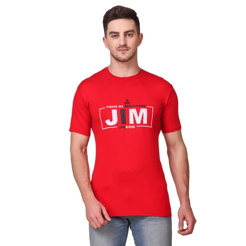 DELEXO - Red Colored Printed Men Round Neck Red Cotton Viscose T-Shirt
