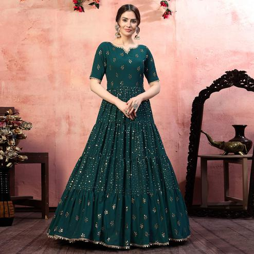 Energetic Green  Colored Party Wear Fancy Golden Sequence Georgette Anarkali Long Gown