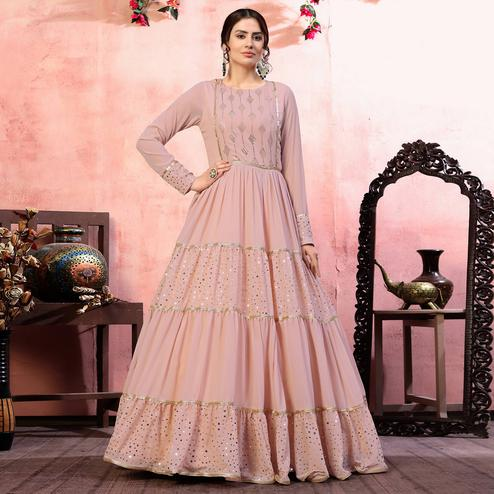 Exceptional Dusty Pink Colored Party Wear Fancy Golden Sequence Georgette Anarkali Long Gown
