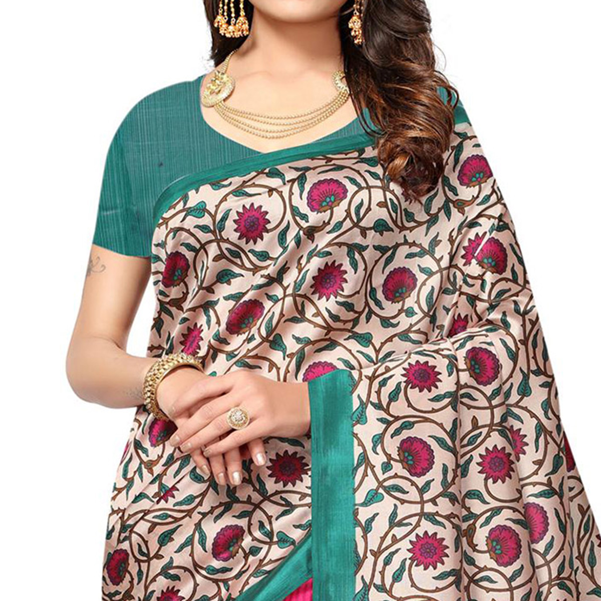 Pink - Green Festive Wear Printed Mysore Art Silk Saree