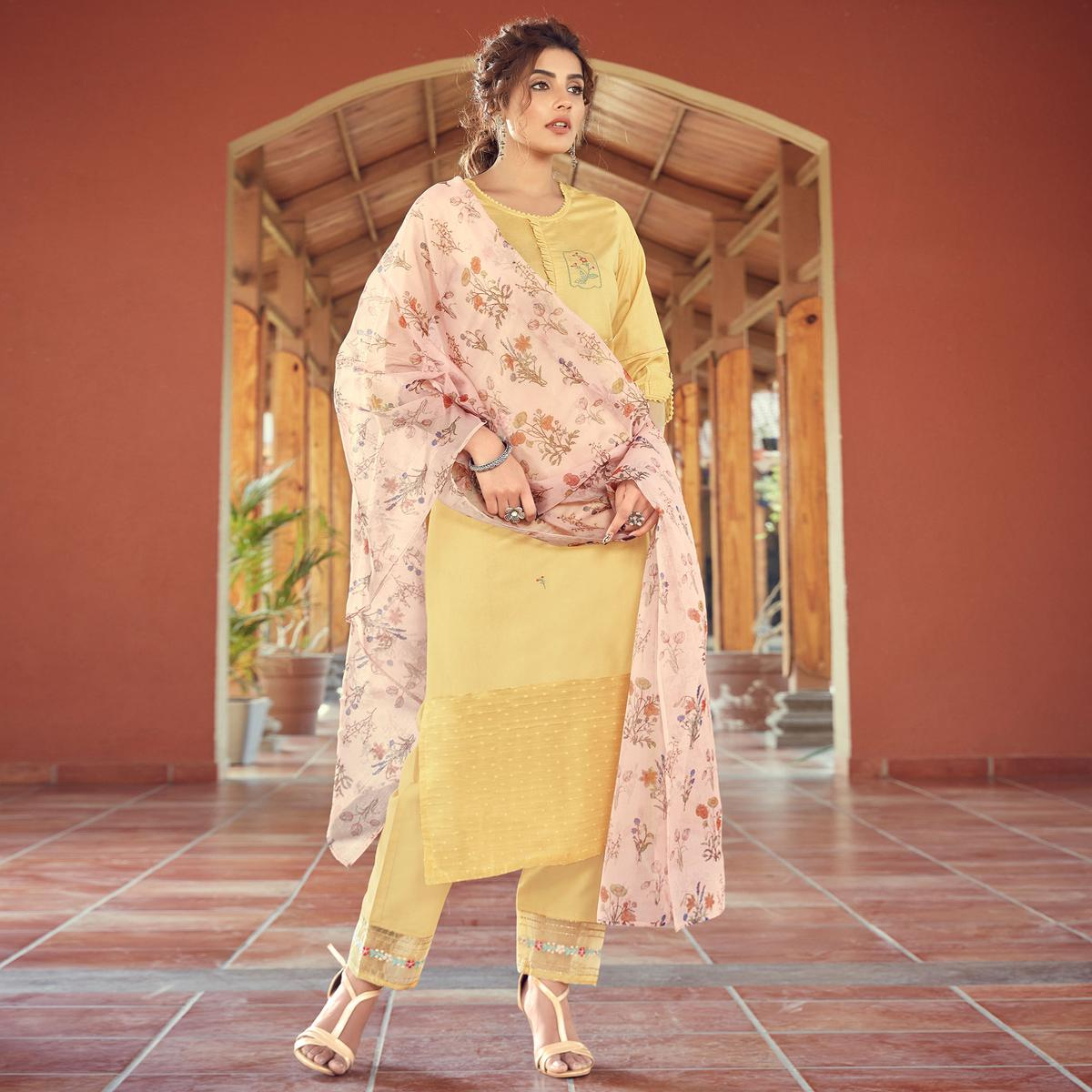 Lovely Light Yellow Colored Partywear Printed Pure Viscose Kurti - Pant Set With Dupatta