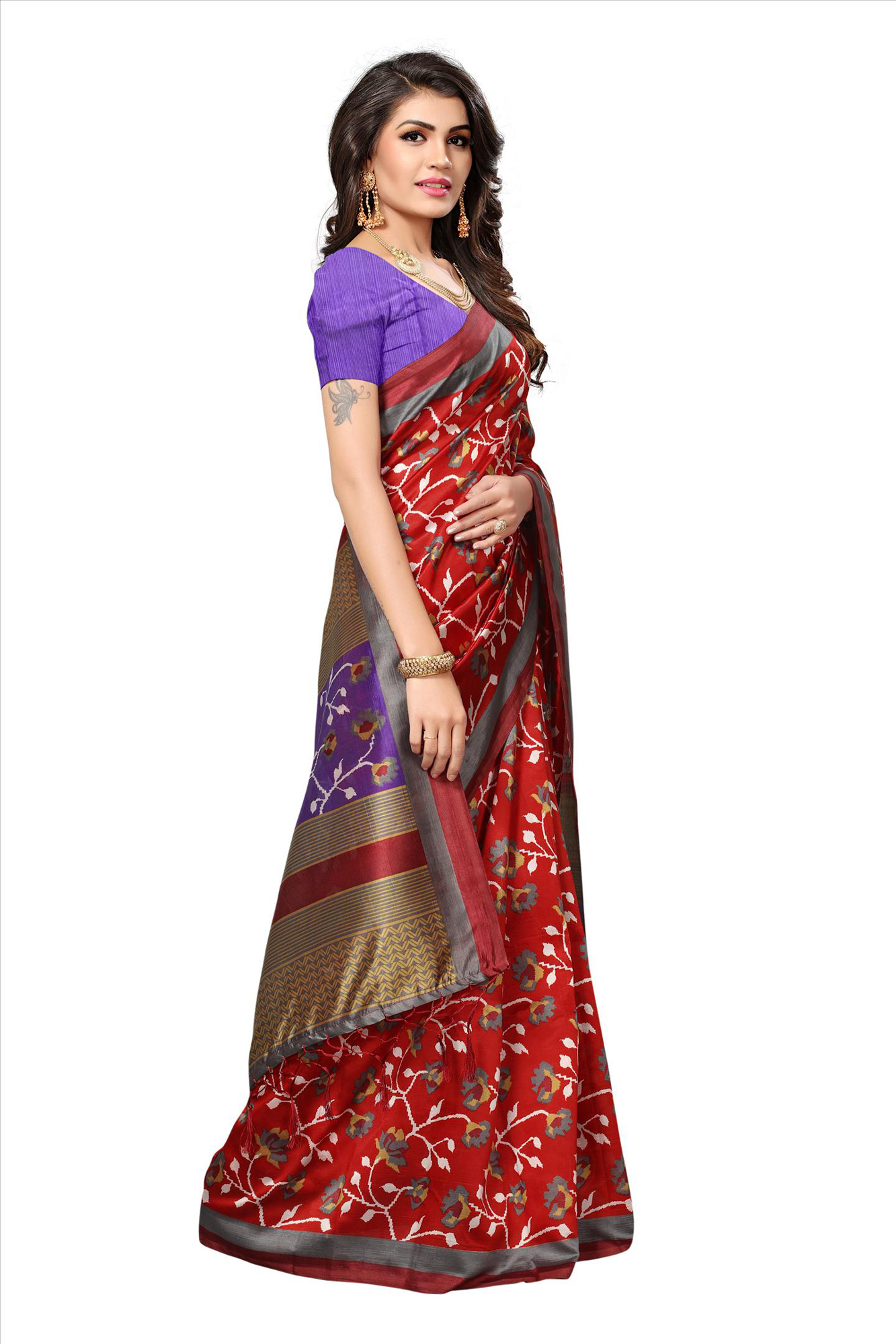 Buy red festive wear printed mysore art silk saree for for Buy art online india