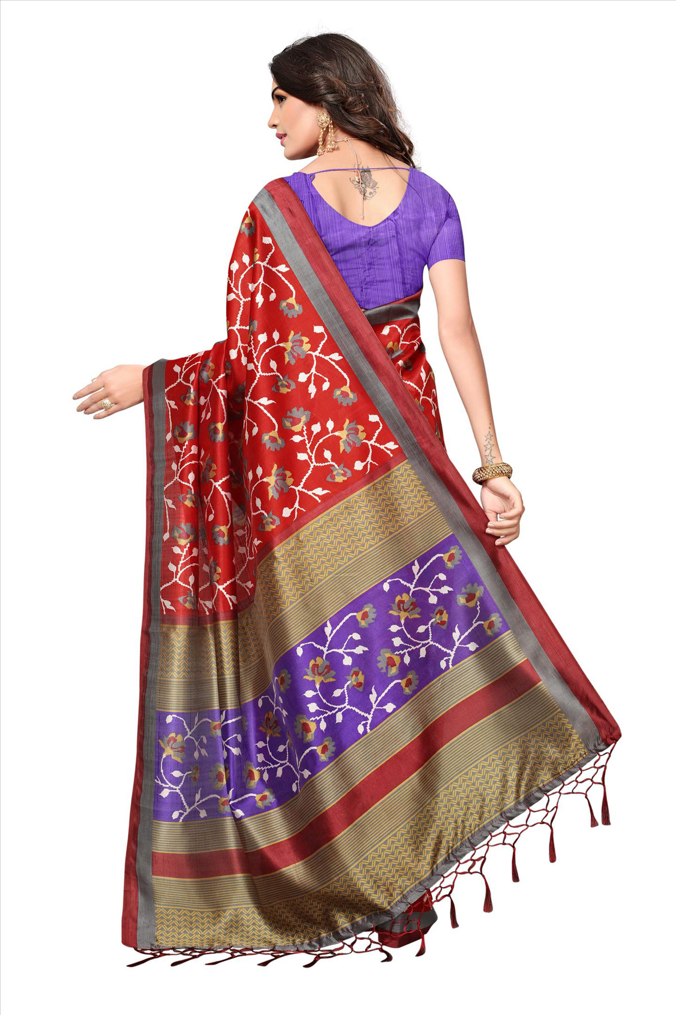 Red Festive Wear Printed Mysore Art Silk Saree