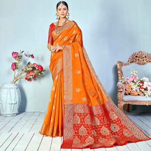 Surpassing Mustard Yellow Colored Festive Wear Woven Silk Saree