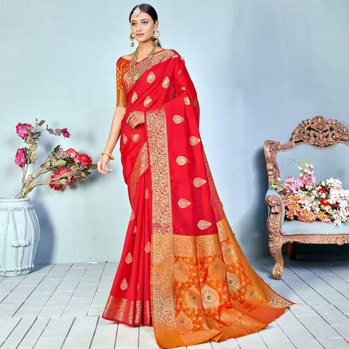 Intricate Red Colored Festive Wear Woven Silk Saree