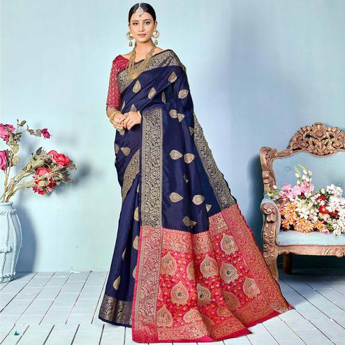 Arresting Navy Blue Colored Festive Wear Woven Silk Saree