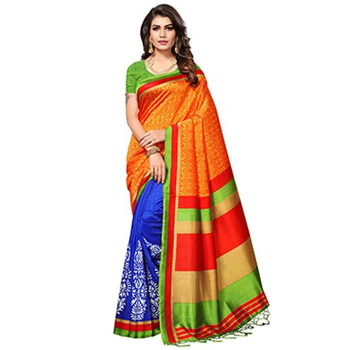 Orange - Blue Festive Wear Printed Mysore Art Silk Saree