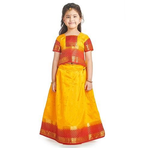 Bhartiya Paridhan - Girls Traditional Ethnic Golden Lehenga Choli