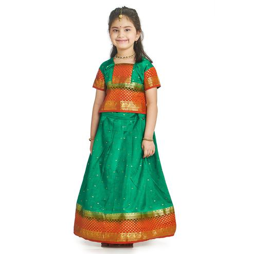Bhartiya Paridhan - Girls Traditional Ethnic Green Lehenga Choli