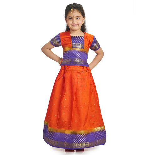 Bhartiya Paridhan - Girls Traditional Ethnic Orange Lehenga Choli