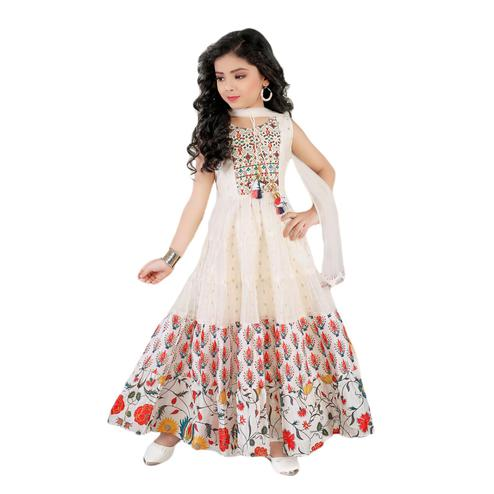 Salwar Studio - Girls Off White Chanderi Cotton Ethnic Suit Set