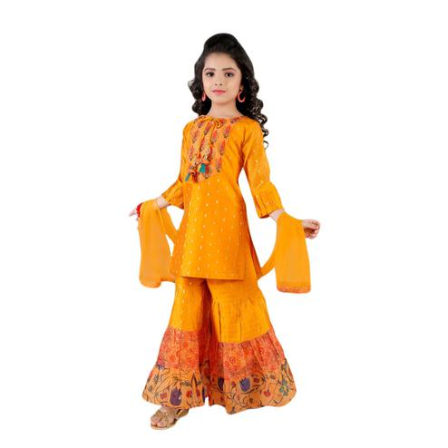 Salwar Studio - Girls Mustard Yellow Chanderi Cotton Ethnic Sharara Suit Set