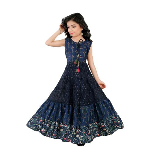 Salwar Studio - Girls Navy Blue Chanderi Cotton Ethnic Suit Set