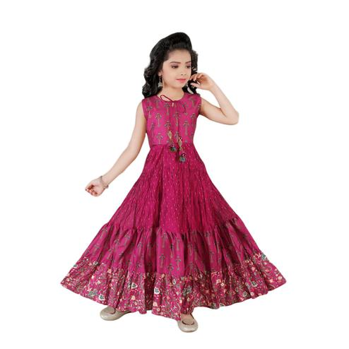 Salwar Studio - Girls Magenta Chanderi Cotton Ethnic Suit Set
