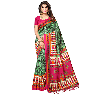 Green Festive Wear Printed Mysore Art Silk Saree