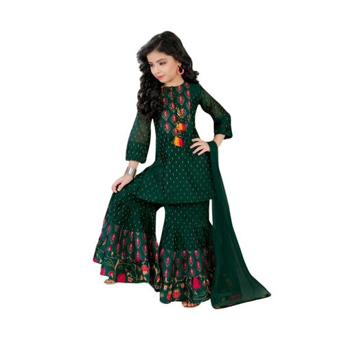 Salwar Studio - Girls Dark Green Chanderi Cotton Ethnic Sharara Suit Set