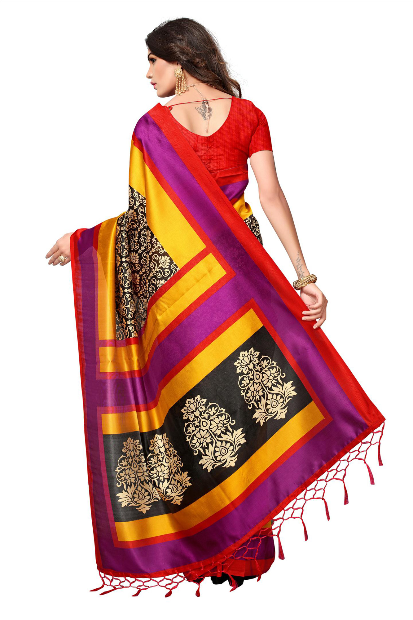 Black - Multicolor Festive Wear Printed Mysore Art Silk Saree